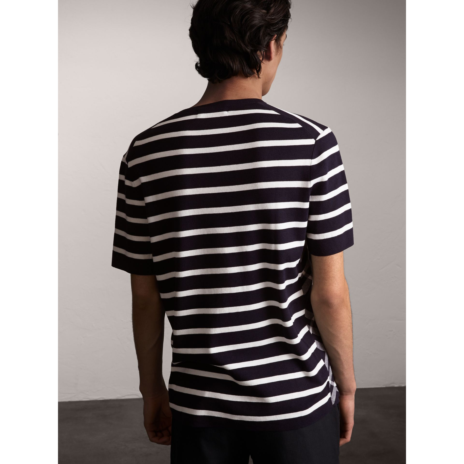 Check Detail Striped Silk Cotton T-shirt in Navy - Men | Burberry - gallery image 2