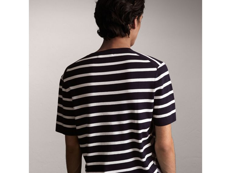 Check Detail Striped Silk Cotton T-shirt in Navy - Men | Burberry - cell image 1