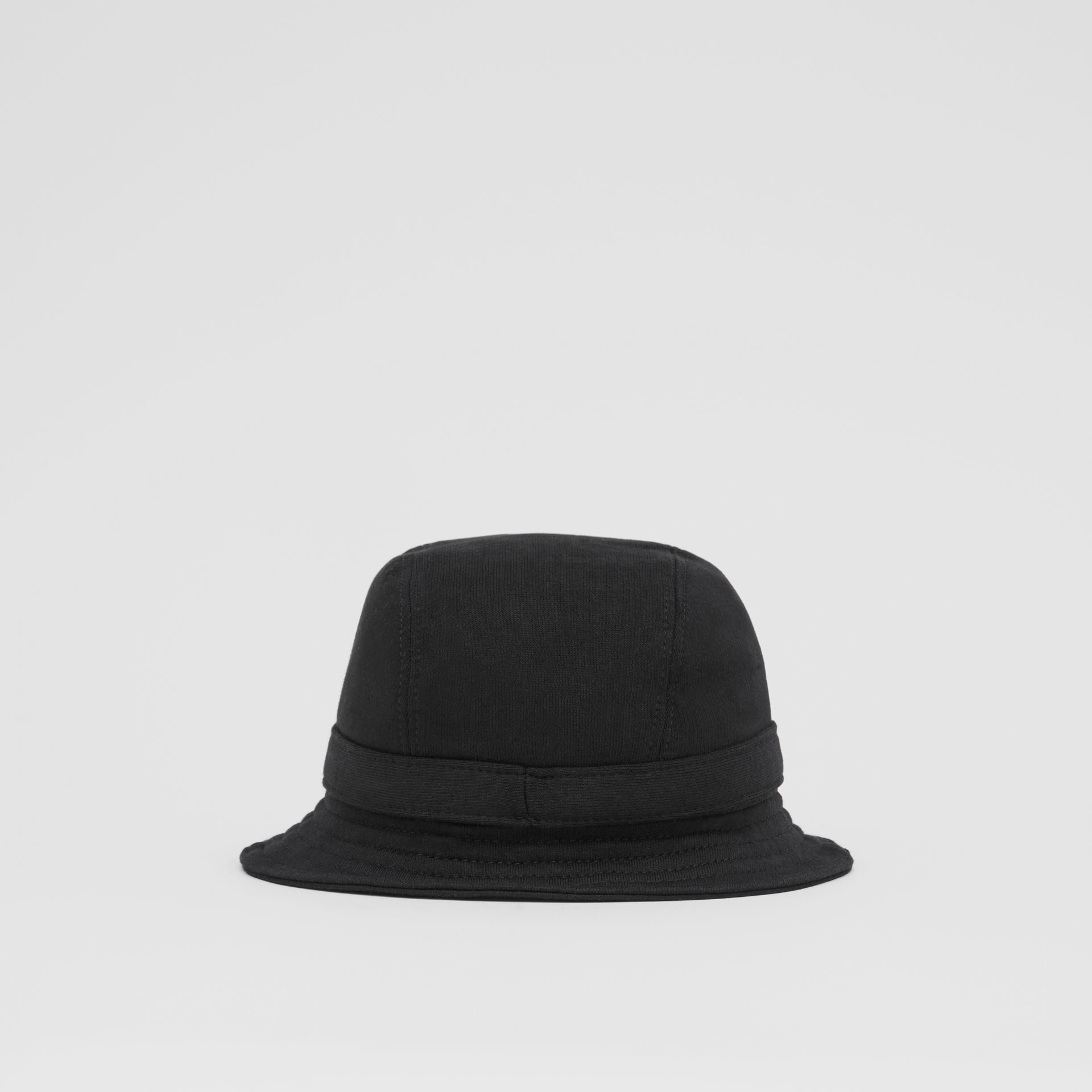 Logo Print Cotton Jersey Bucket Hat in Black | Burberry United Kingdom - gallery image 6