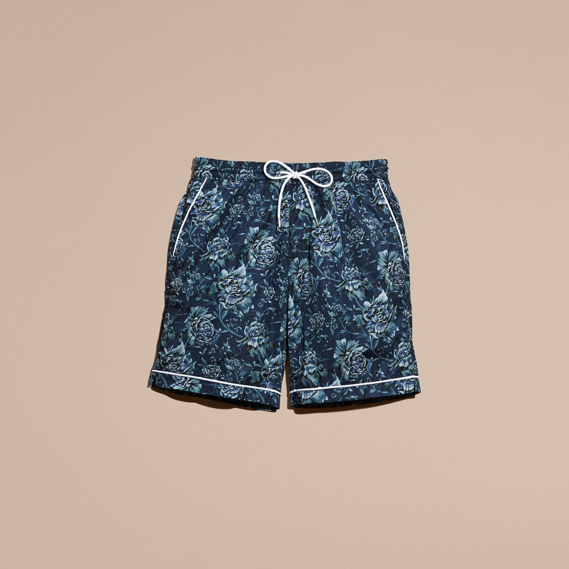 Ink blue Peony Rose Print Swim Shorts - gallery image 4