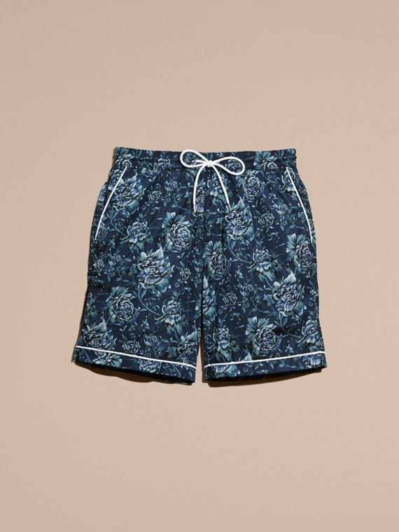 Ink blue Peony Rose Print Swim Shorts - cell image 3
