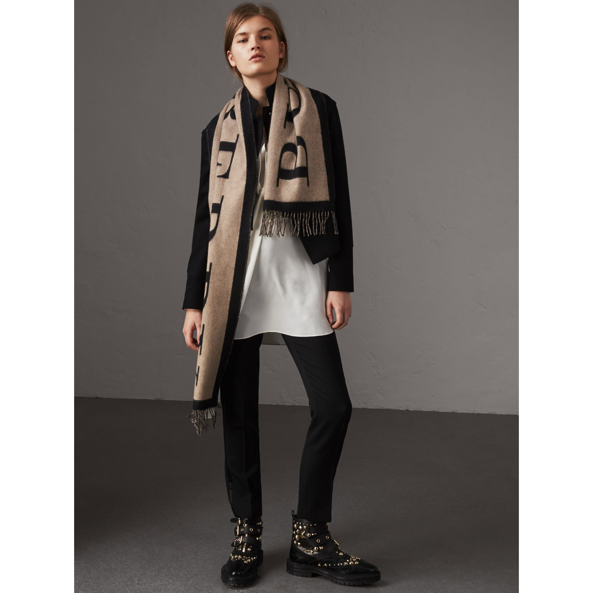 Graphic Print Motif  Lightweight Cashmere Scarf in Camel - Women | Burberry United States - gallery image 3
