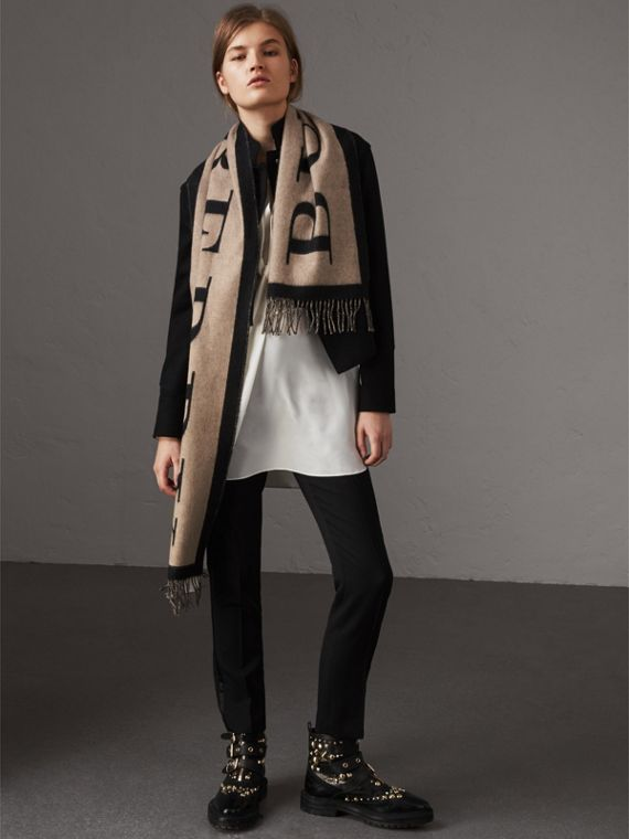 Graphic Print Motif  Lightweight Cashmere Scarf in Camel - Women | Burberry United States - cell image 2