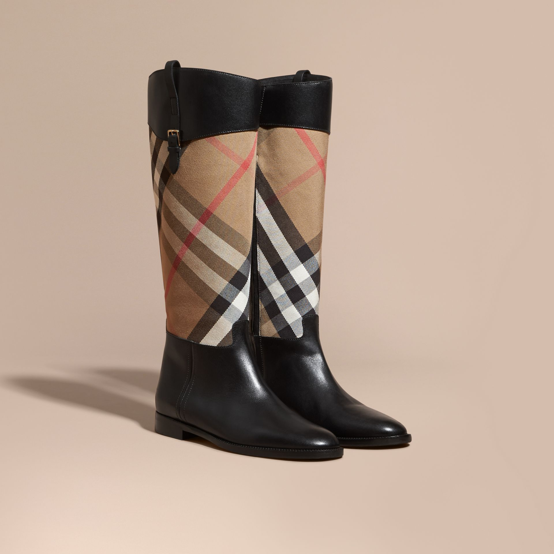 House Check and Leather Riding Boots in Black - Women | Burberry - gallery image 1