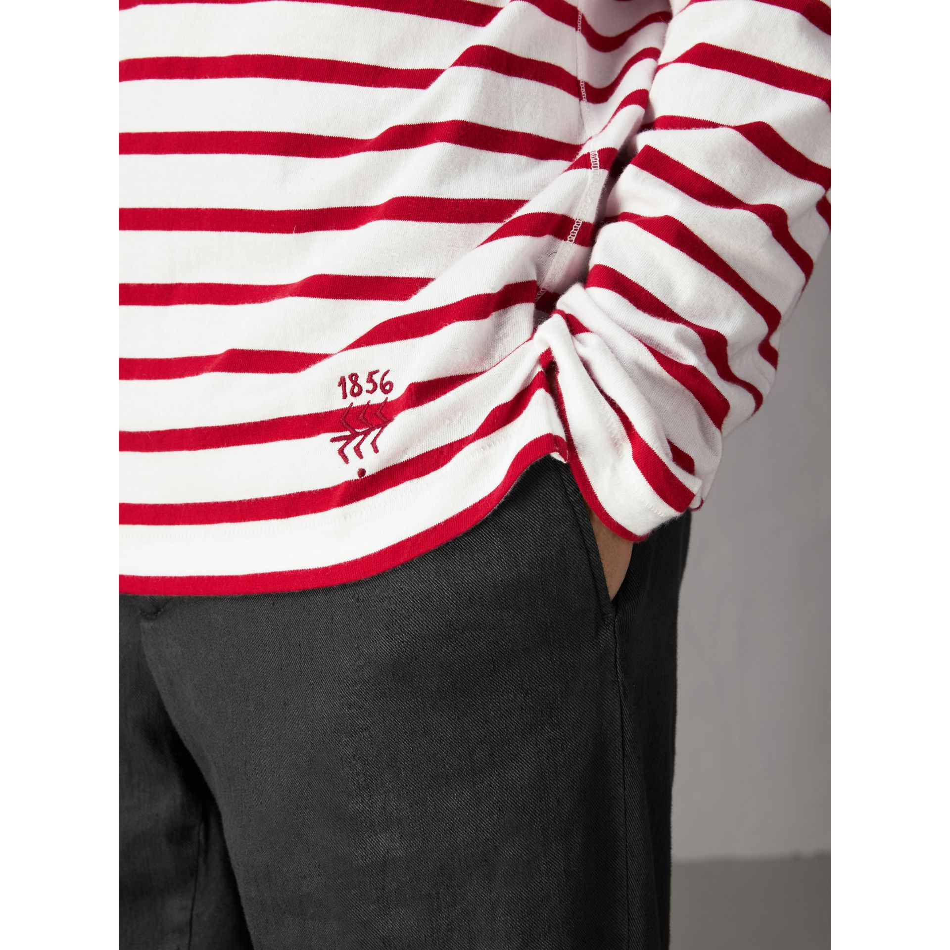 Breton Stripe Cotton Jersey Top in Red/white - Men | Burberry - gallery image 1