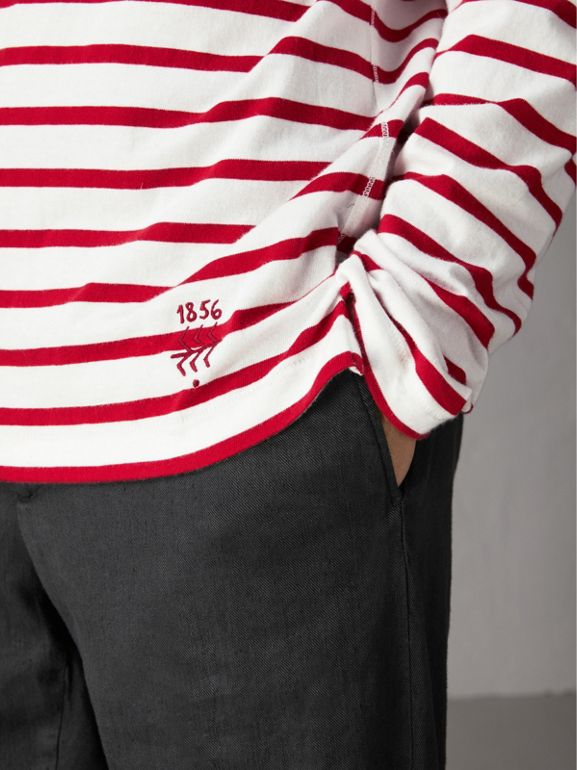 Breton Stripe Cotton Jersey Top in Red/white - Men | Burberry United Kingdom - cell image 1