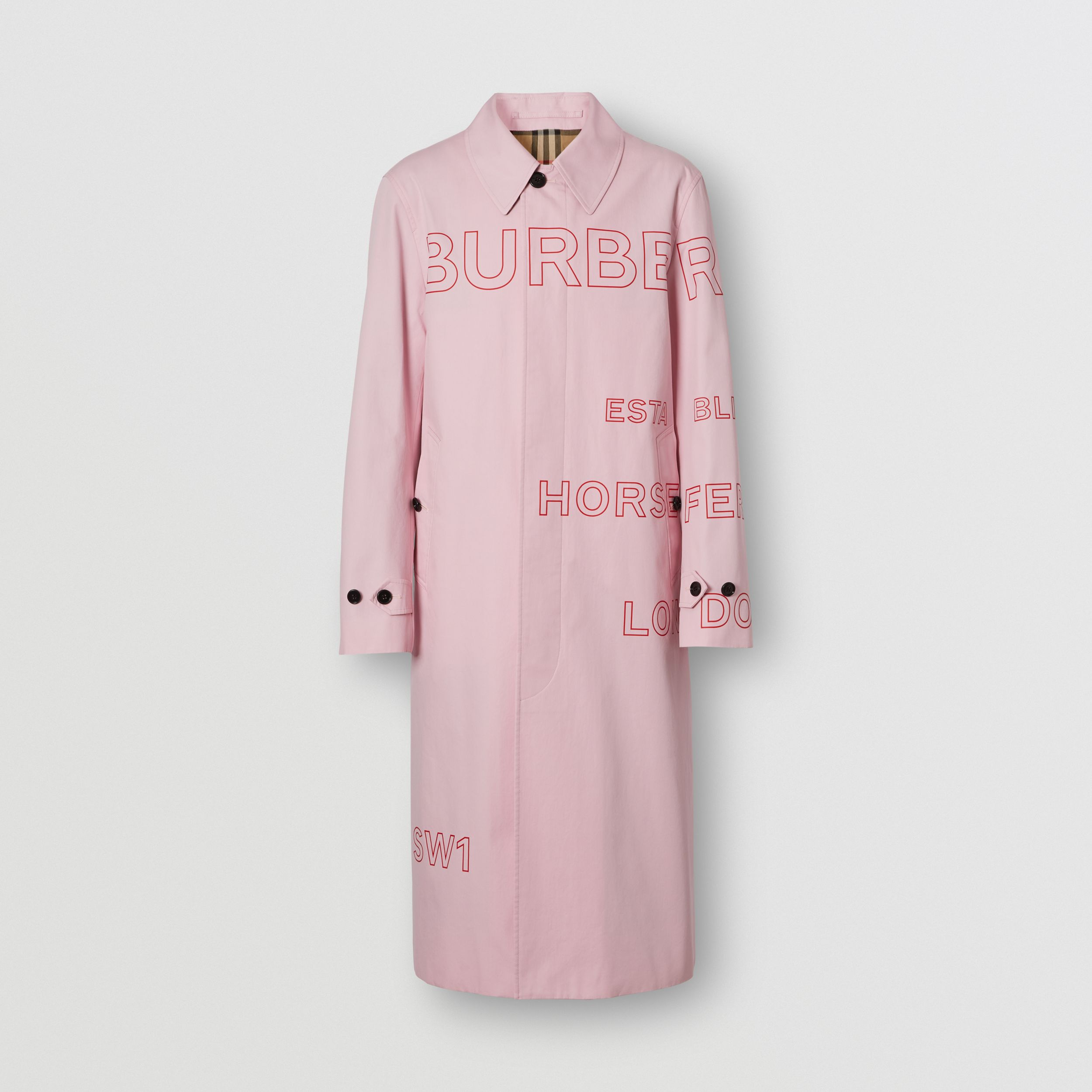Horseferry Print Cotton Gabardine Car Coat in Light Pink - Men | Burberry - 4