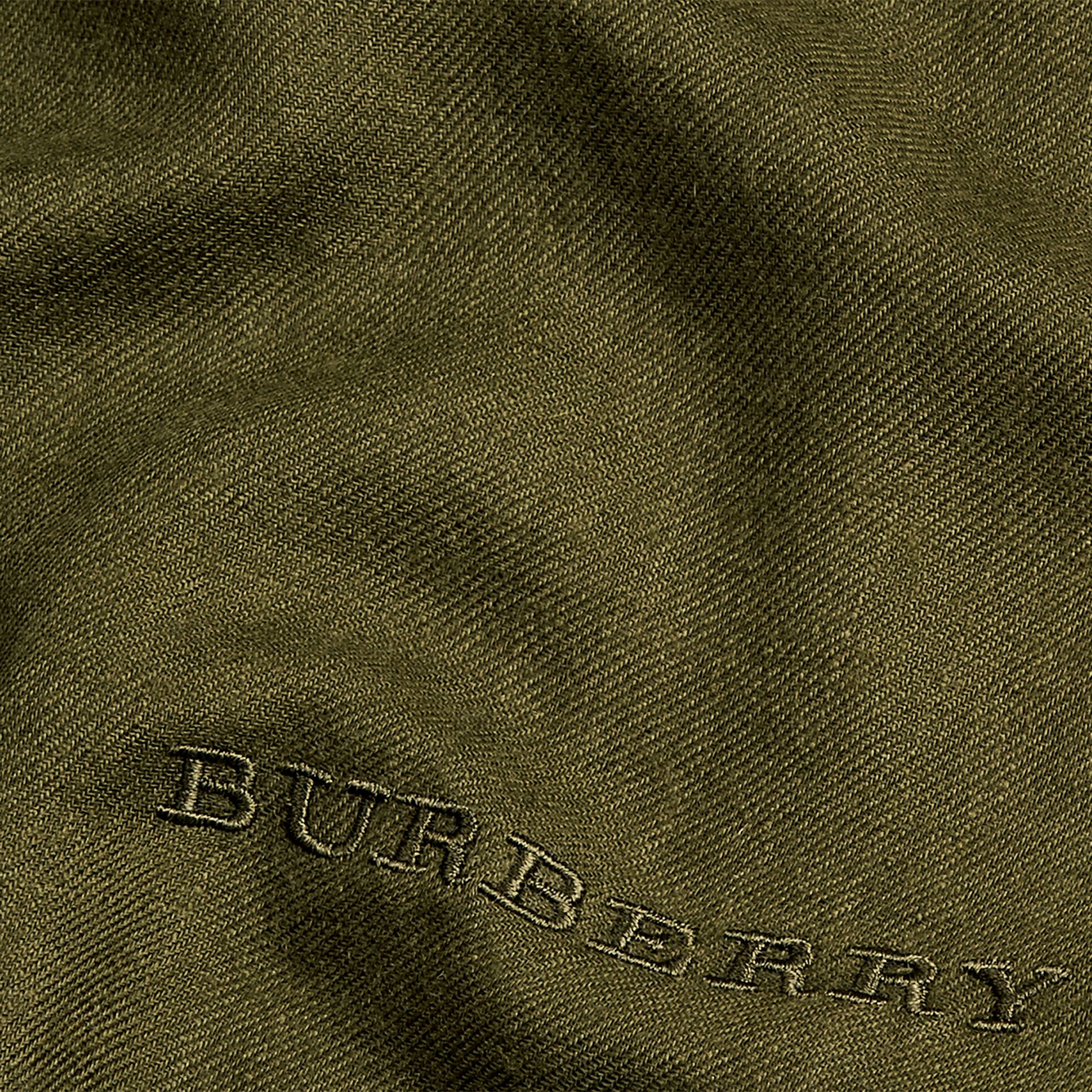 Olive green The Lightweight Cashmere Scarf Olive Green - gallery image 5