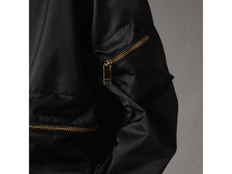 Showerproof Bomber Jacket with Detachable Warmer in Black - Women | Burberry - cell image 1