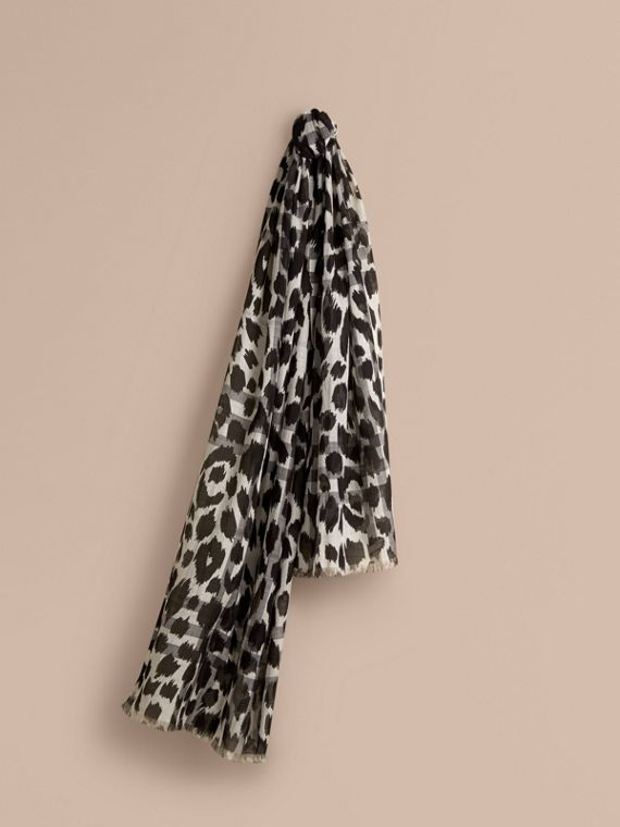 Animal Print and Check Wool Silk Scarf Natural White/black