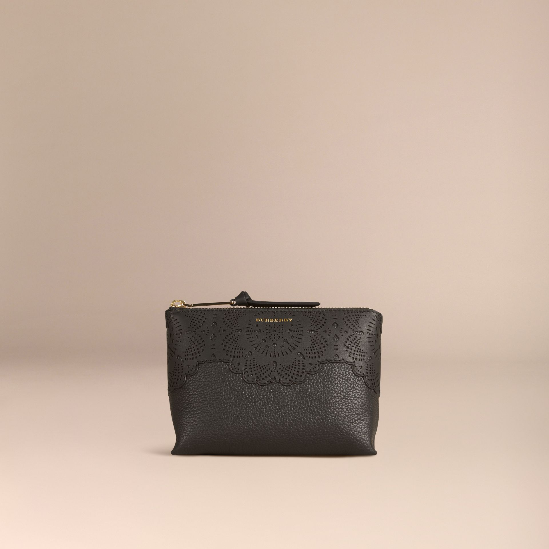 Black Medium Grainy Leather Beauty Pouch - gallery image 4