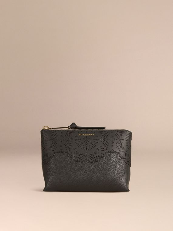 Black Medium Grainy Leather Beauty Pouch - cell image 3
