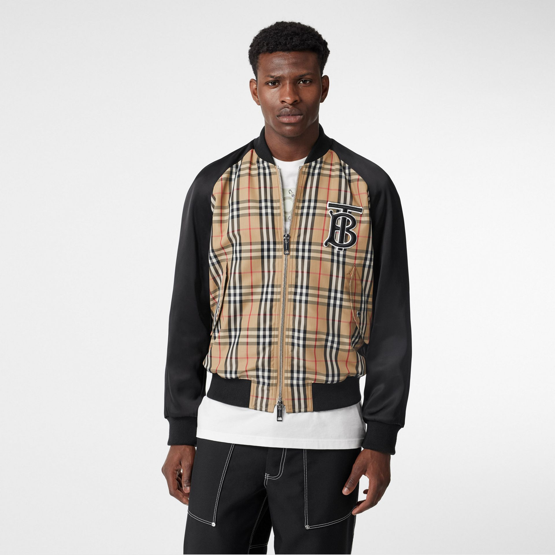 Monogram Motif Vintage Check Nylon Bomber Jacket in Archive Beige - Men | Burberry United States - gallery image 3