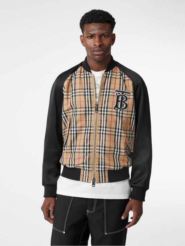 Monogram Motif Vintage Check Nylon Bomber Jacket in Archive Beige - Men | Burberry United States - cell image 3