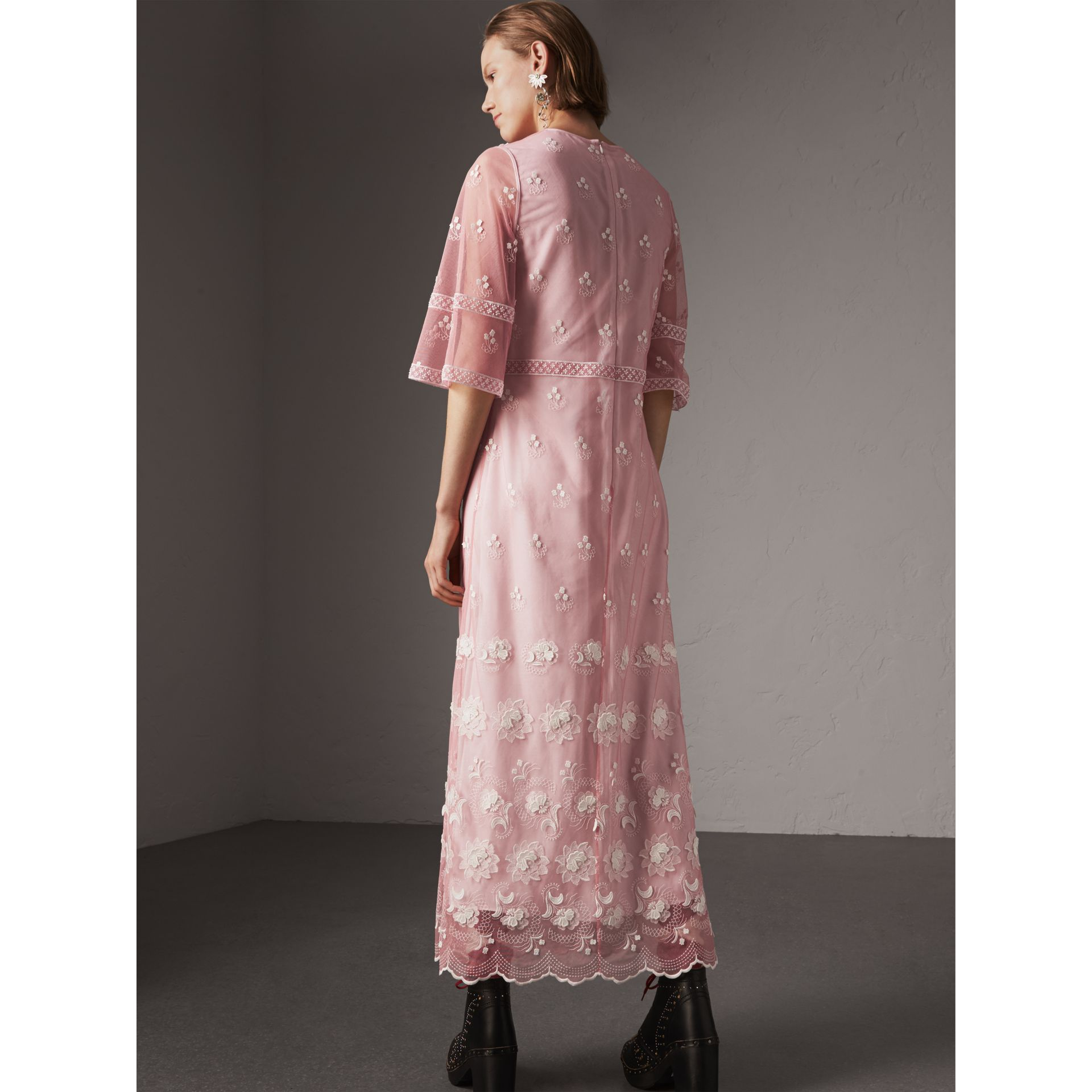 Flare-sleeve Embroidered Tulle Dress in Rose Pink/white - Women | Burberry United Kingdom - gallery image 2