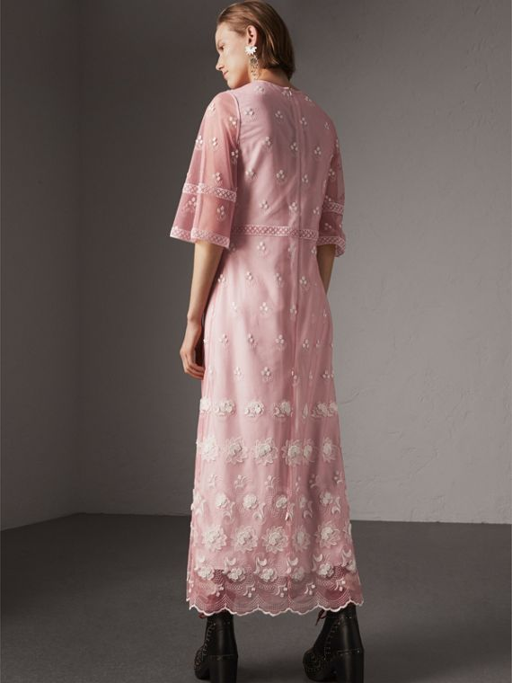 Flare-sleeve Embroidered Tulle Dress in Rose Pink/white - Women | Burberry United Kingdom - cell image 2