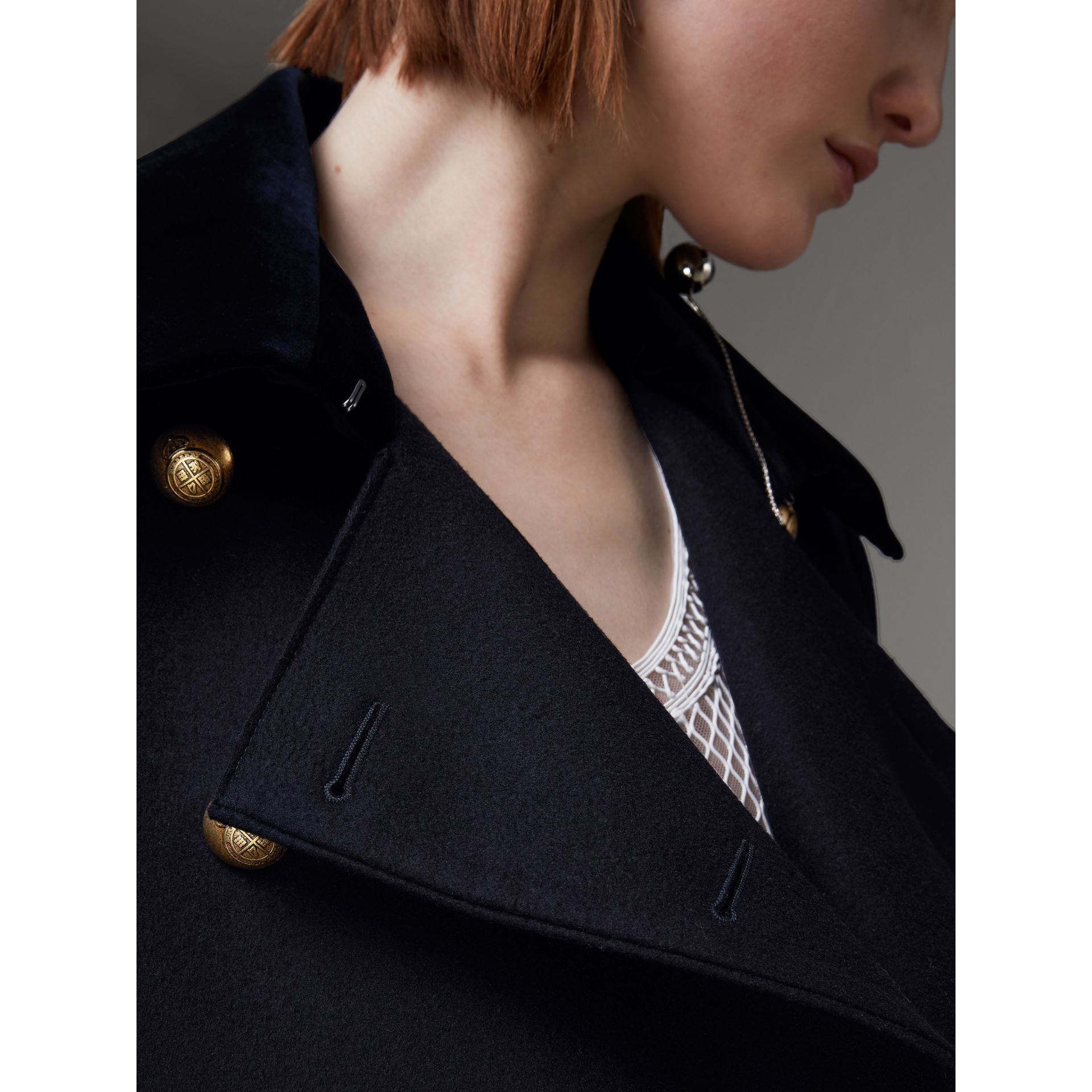 Doeskin Wool Military Coat in Dark Navy - Women | Burberry - gallery image 1