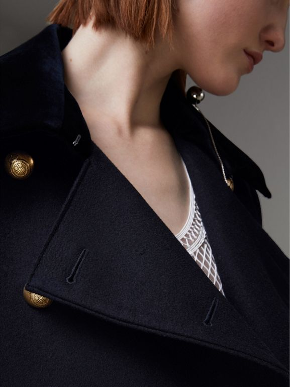 Doeskin Wool Military Coat in Dark Navy - Women | Burberry United States - cell image 1