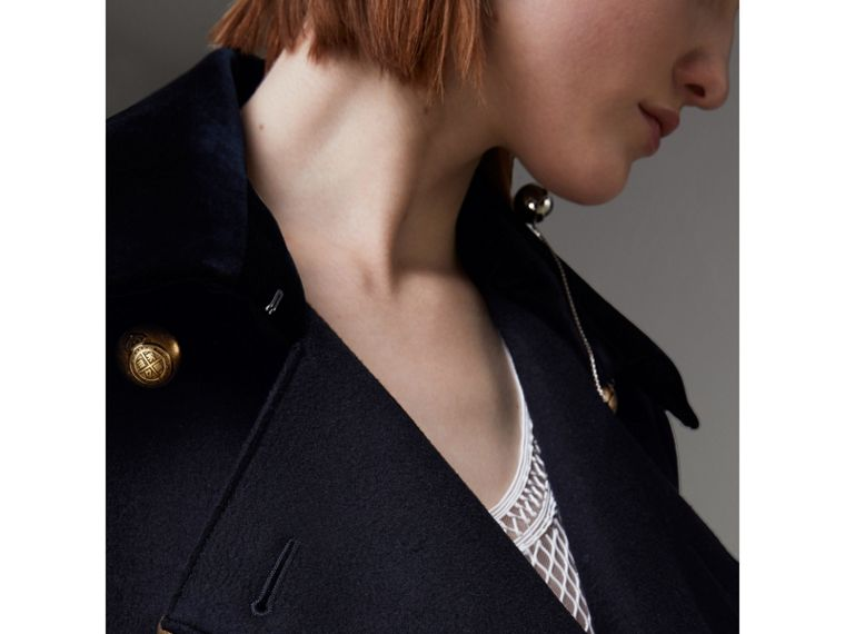 Doeskin Wool Military Coat in Dark Navy - Women | Burberry - cell image 1