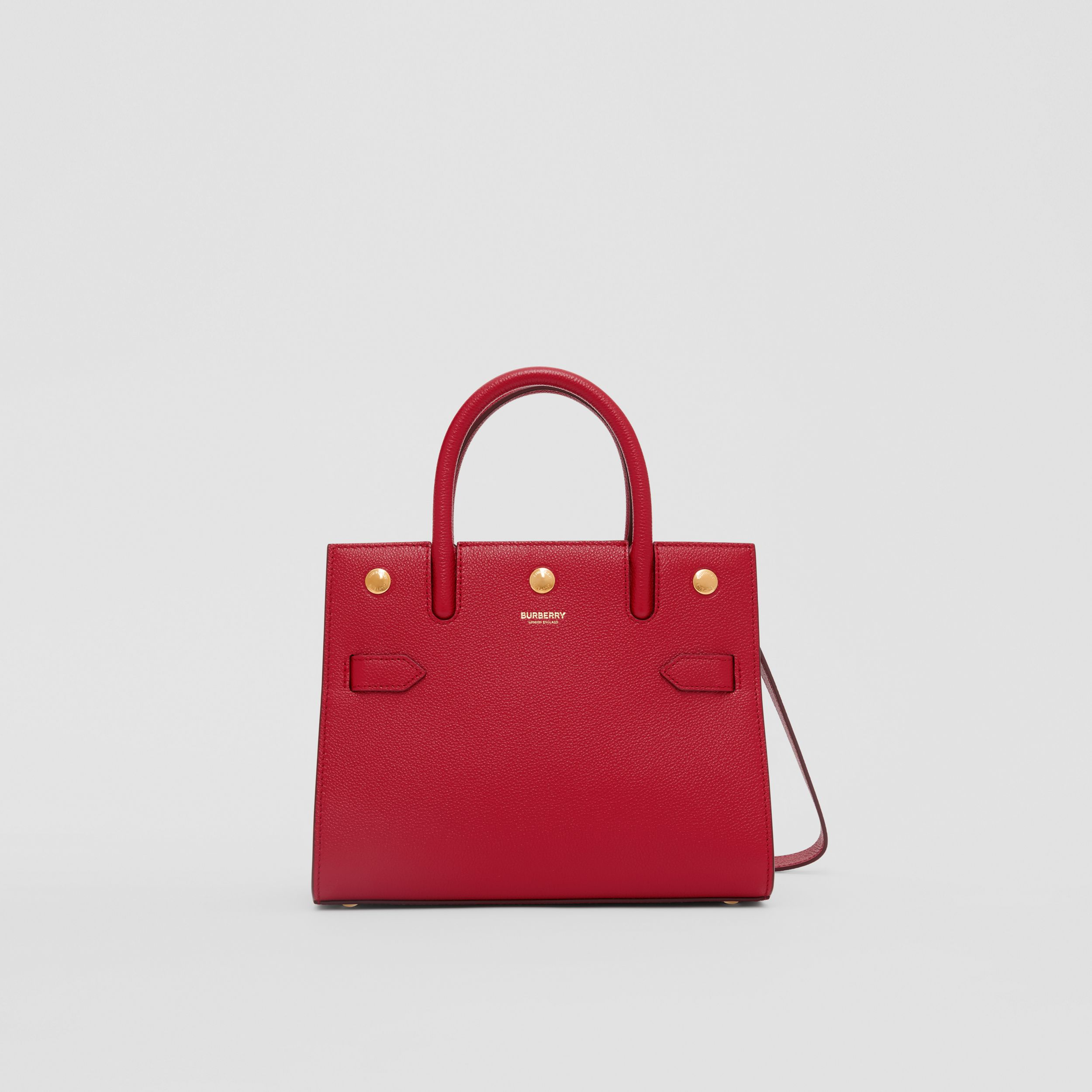 Mini Leather Two-handle Title Bag in Dark Carmine - Women | Burberry - 1
