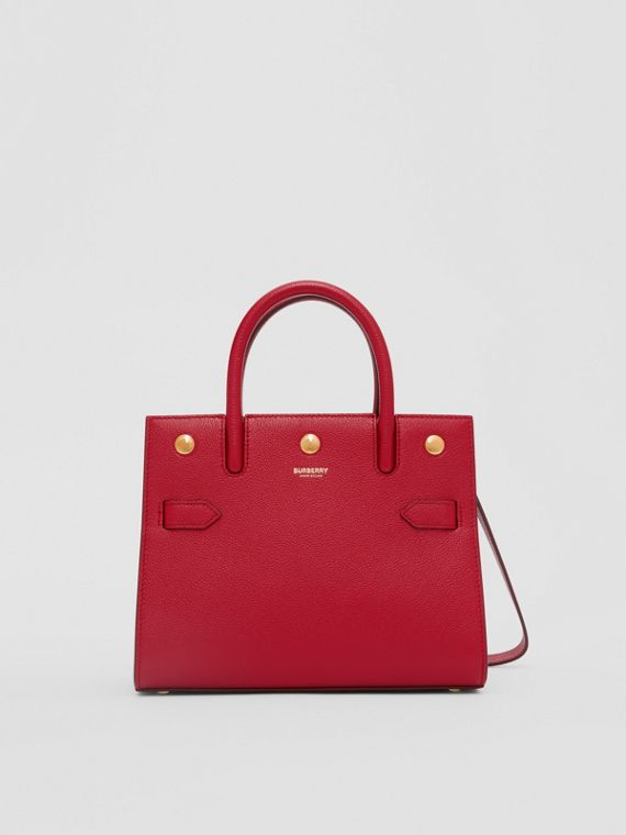 Mini Leather Two-handle Title Bag in Dark Carmine