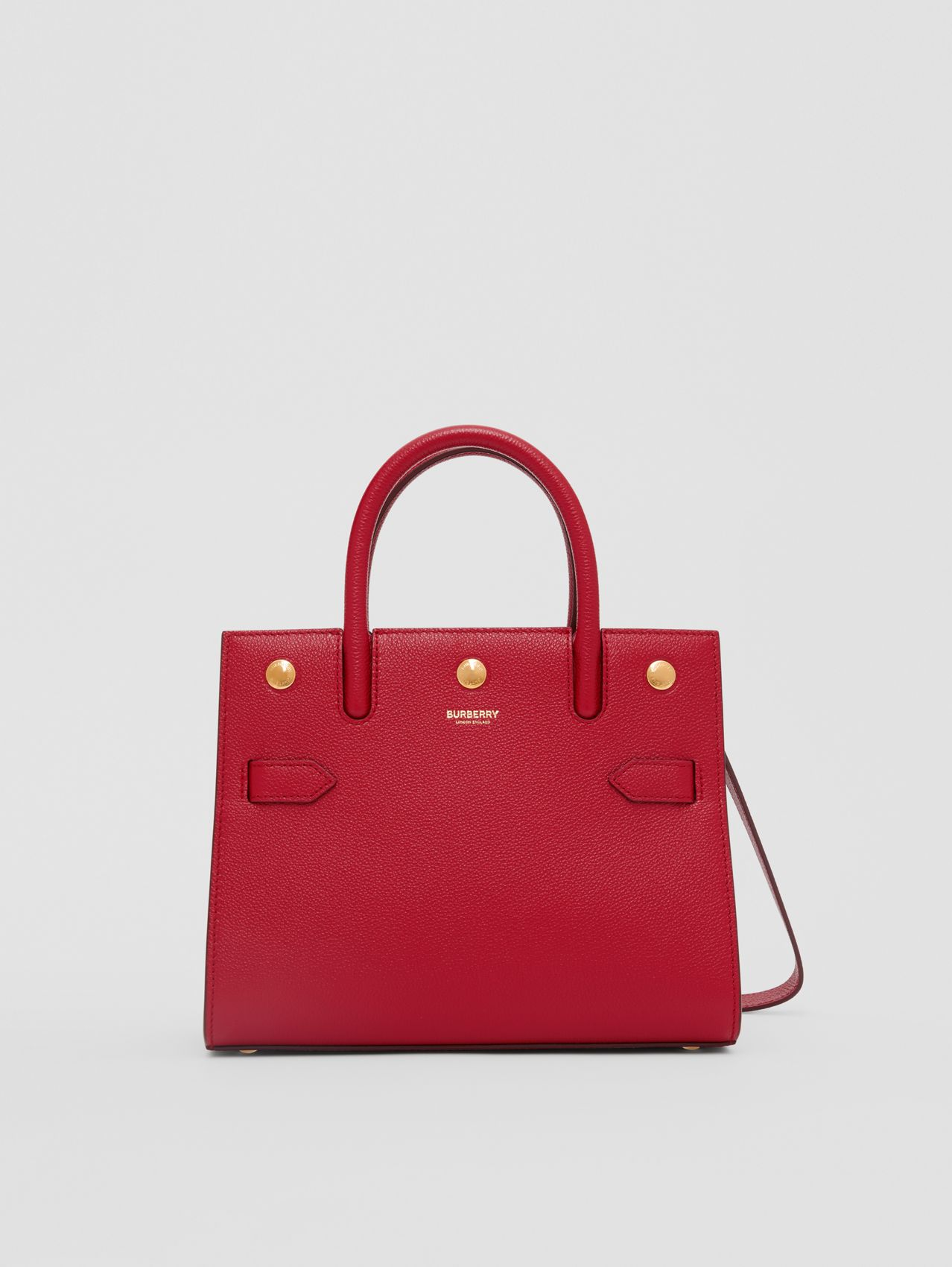 Mini Leather Two-handle Title Bag (Dark Carmine)