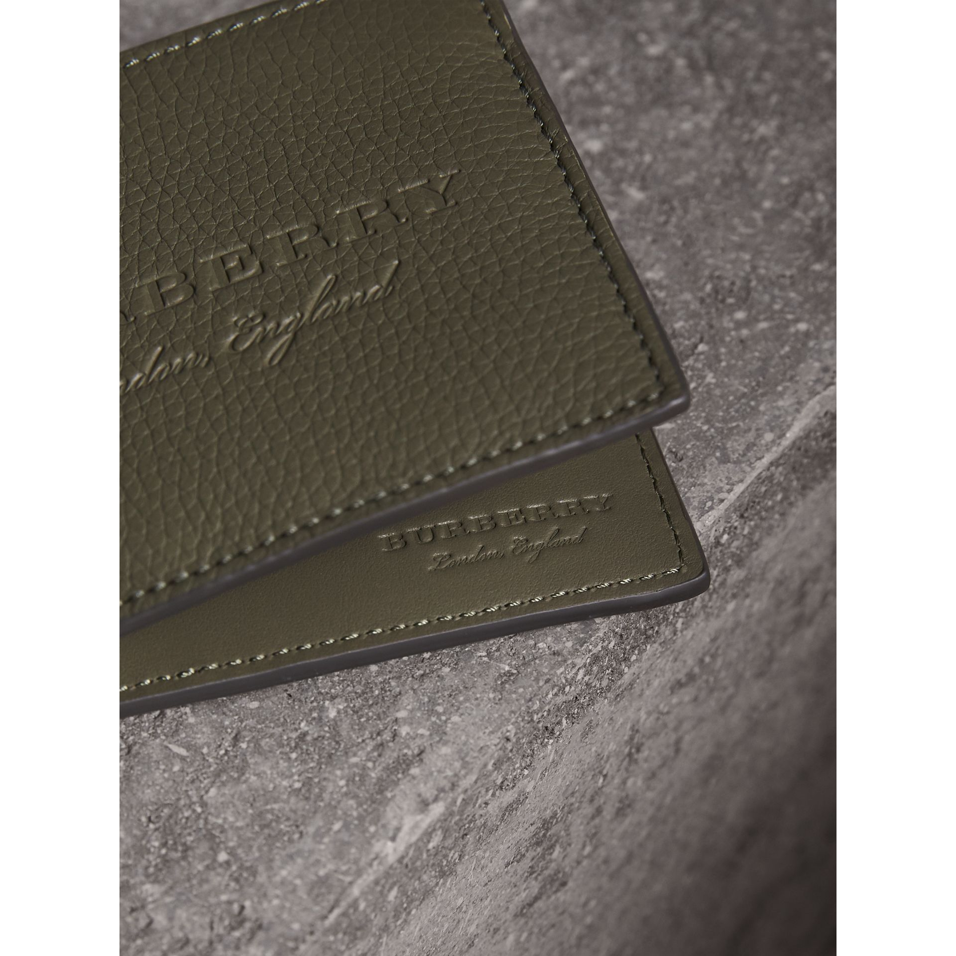Embossed Leather Bifold Wallet in Slate Green - Men | Burberry - gallery image 2