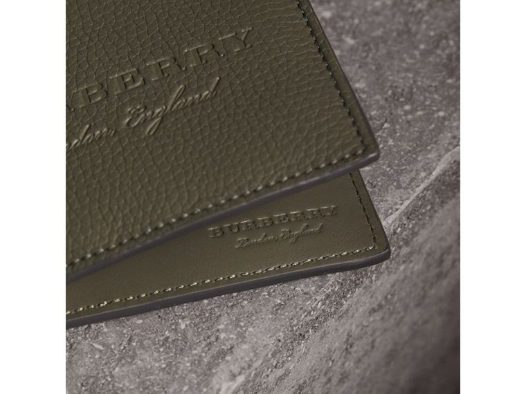 Embossed Leather Bifold Wallet in Slate Green - Men | Burberry - cell image 1