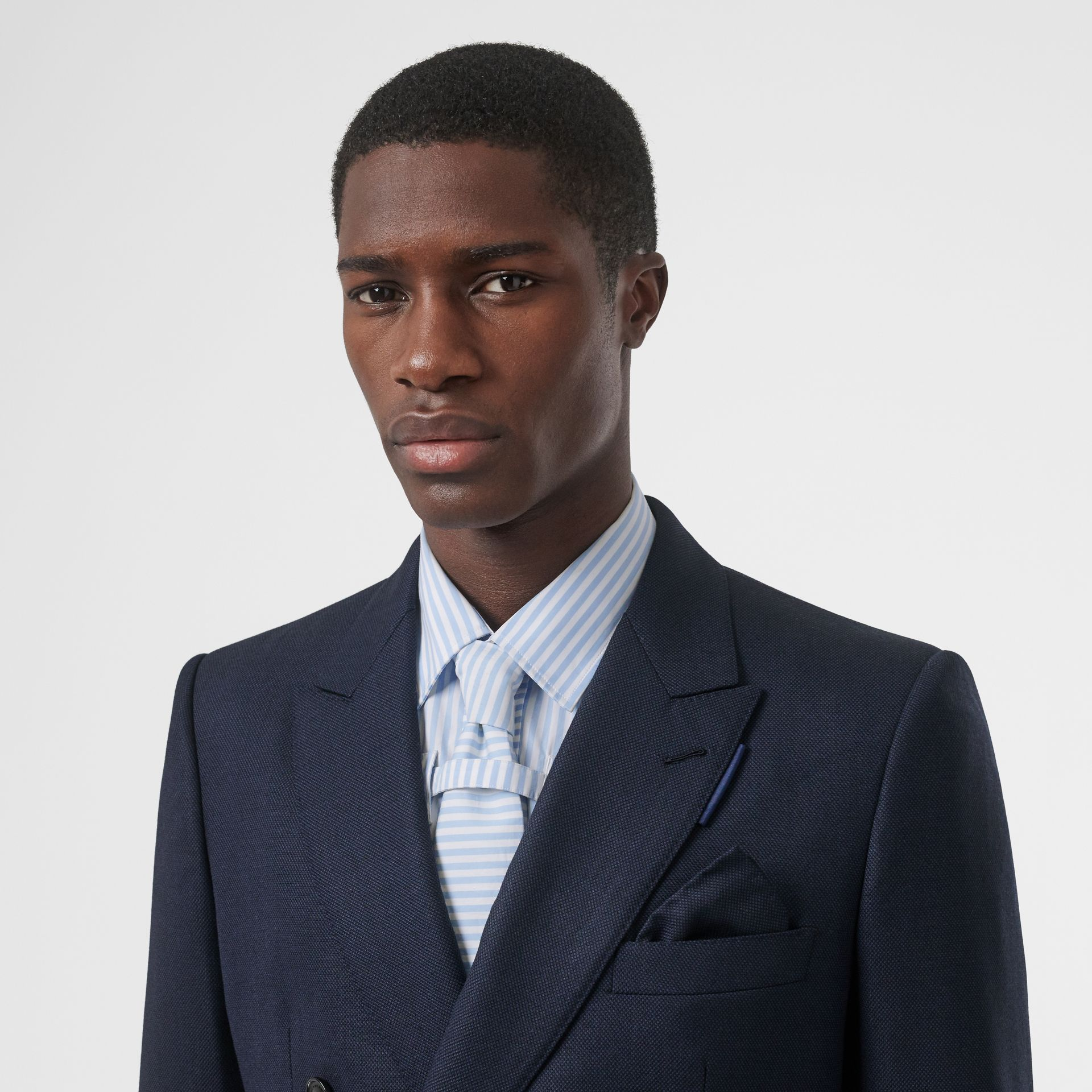 English Fit Birdseye Wool Cashmere Suit in Navy Blue | Burberry - gallery image 8