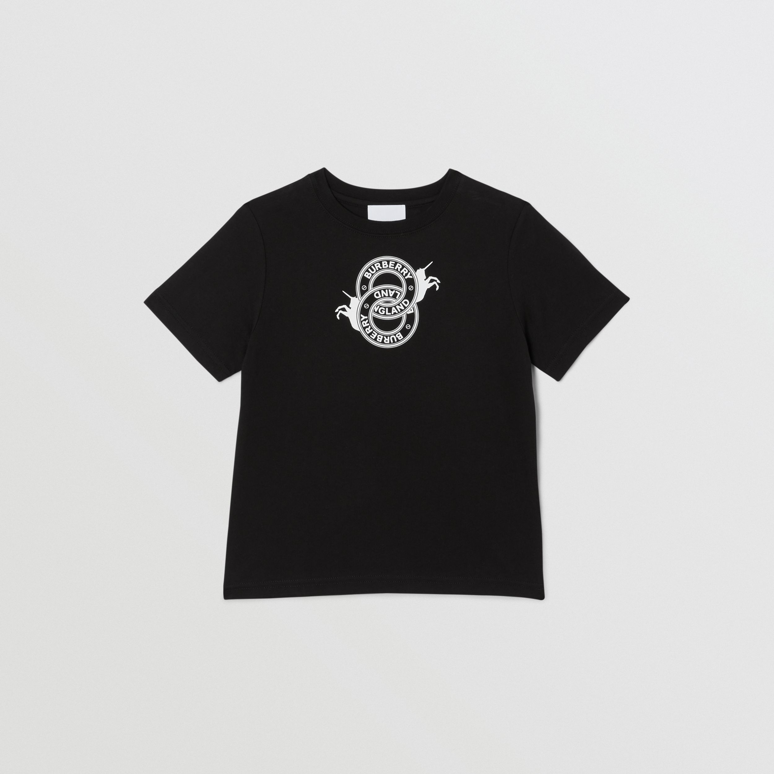 Logo Graphic and Unicorn Print Cotton T-shirt in Black | Burberry - 1
