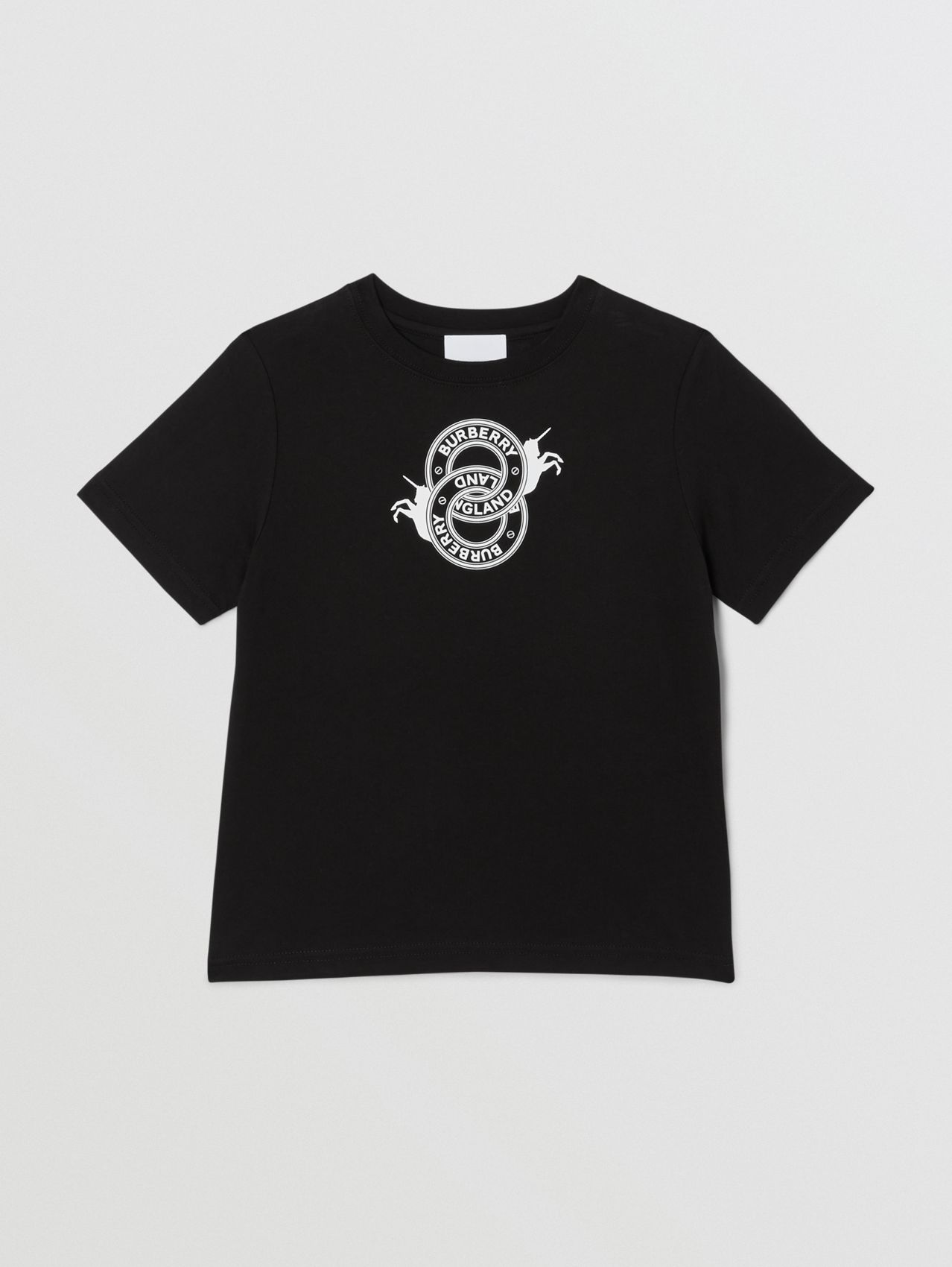 Logo Graphic and Unicorn Print Cotton T-shirt in Black