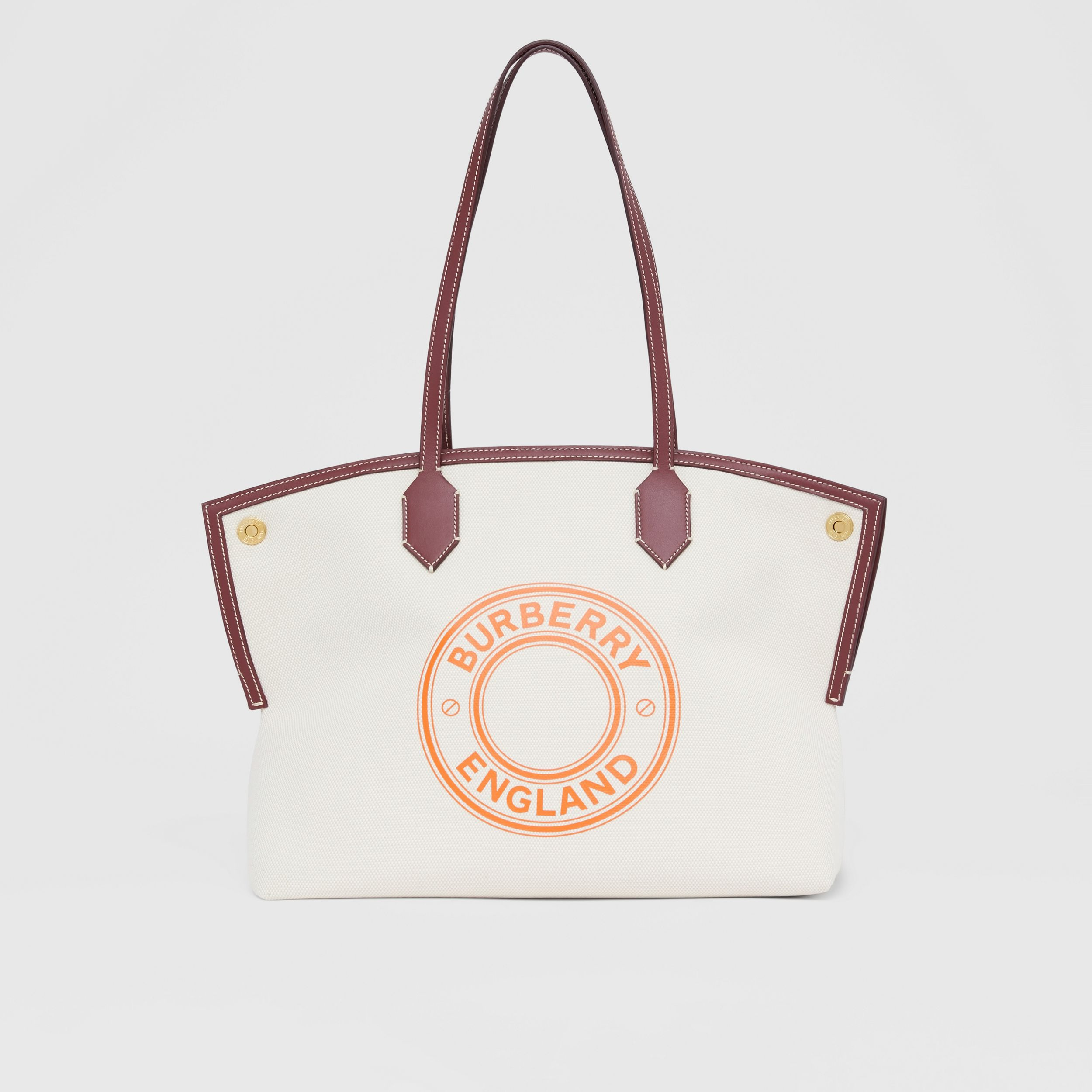 Medium Logo Graphic Cotton Canvas Society Tote in Natural/garnet/geranium - Women | Burberry Australia - 1