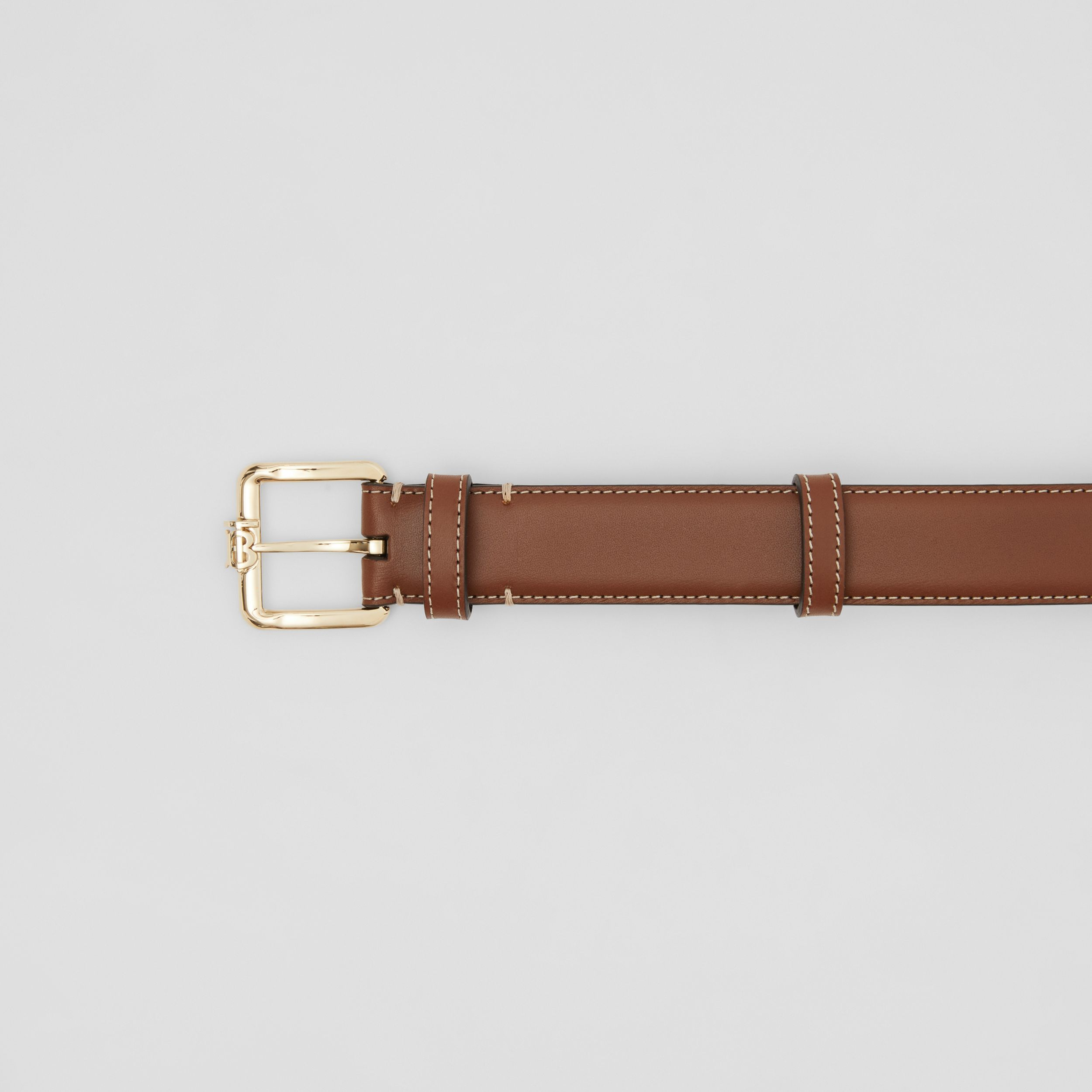 Monogram Motif Topstitched Leather Belt in Tan/light Gold - Women | Burberry United Kingdom - 2