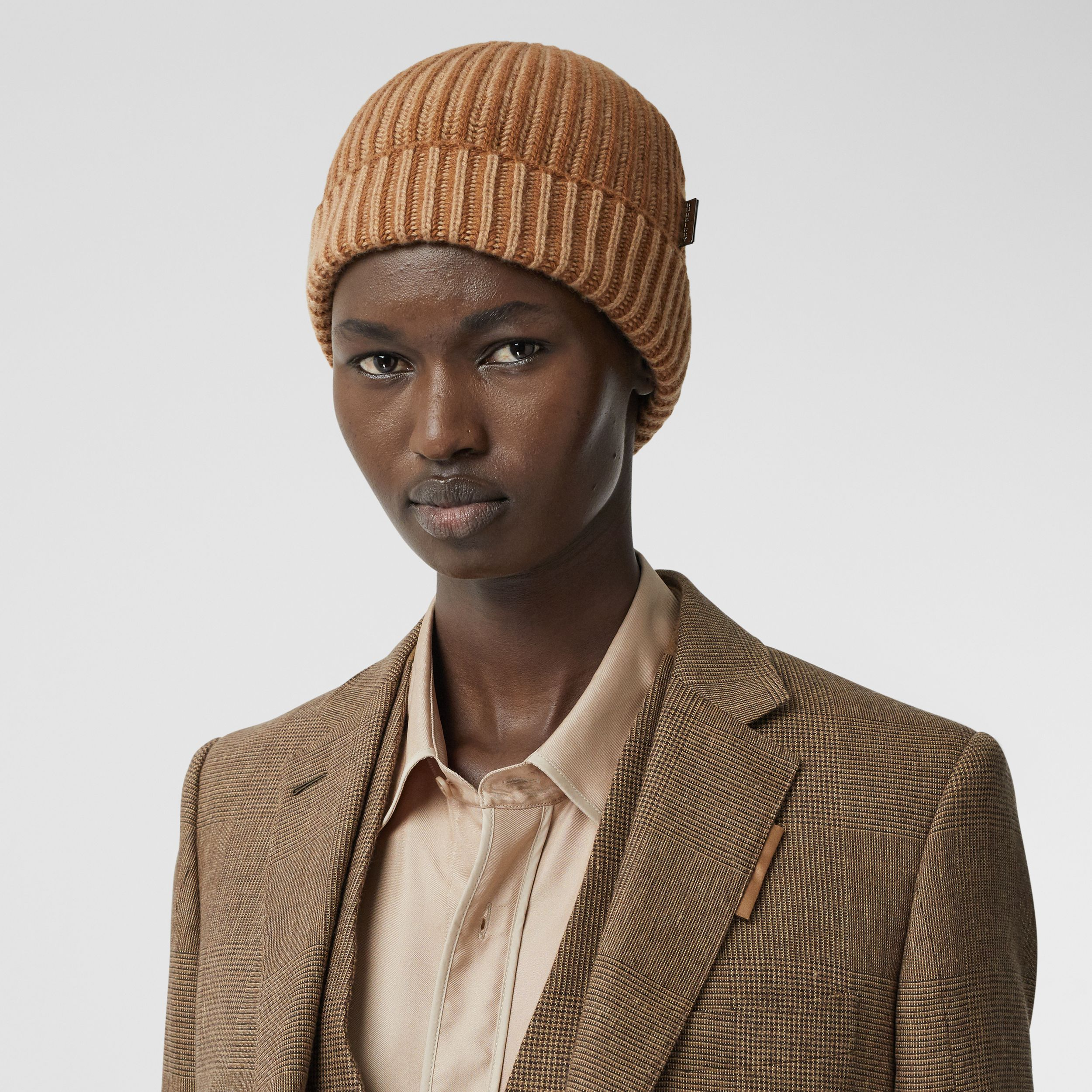 Rib Knit Cashmere Beanie in Camel | Burberry Canada - 3