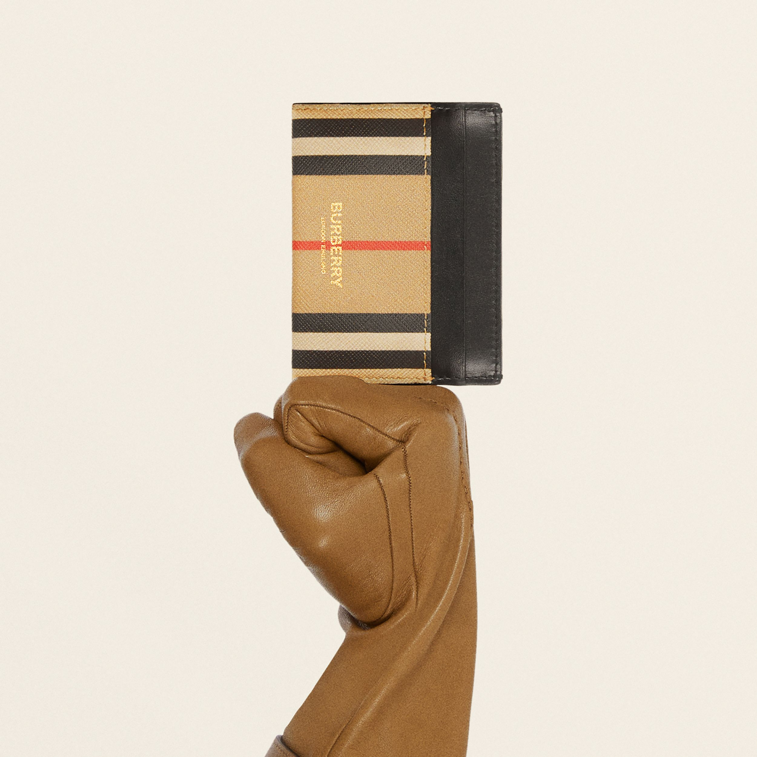 Icon Stripe E-canvas and Leather Card Case in Archive Beige | Burberry - 2