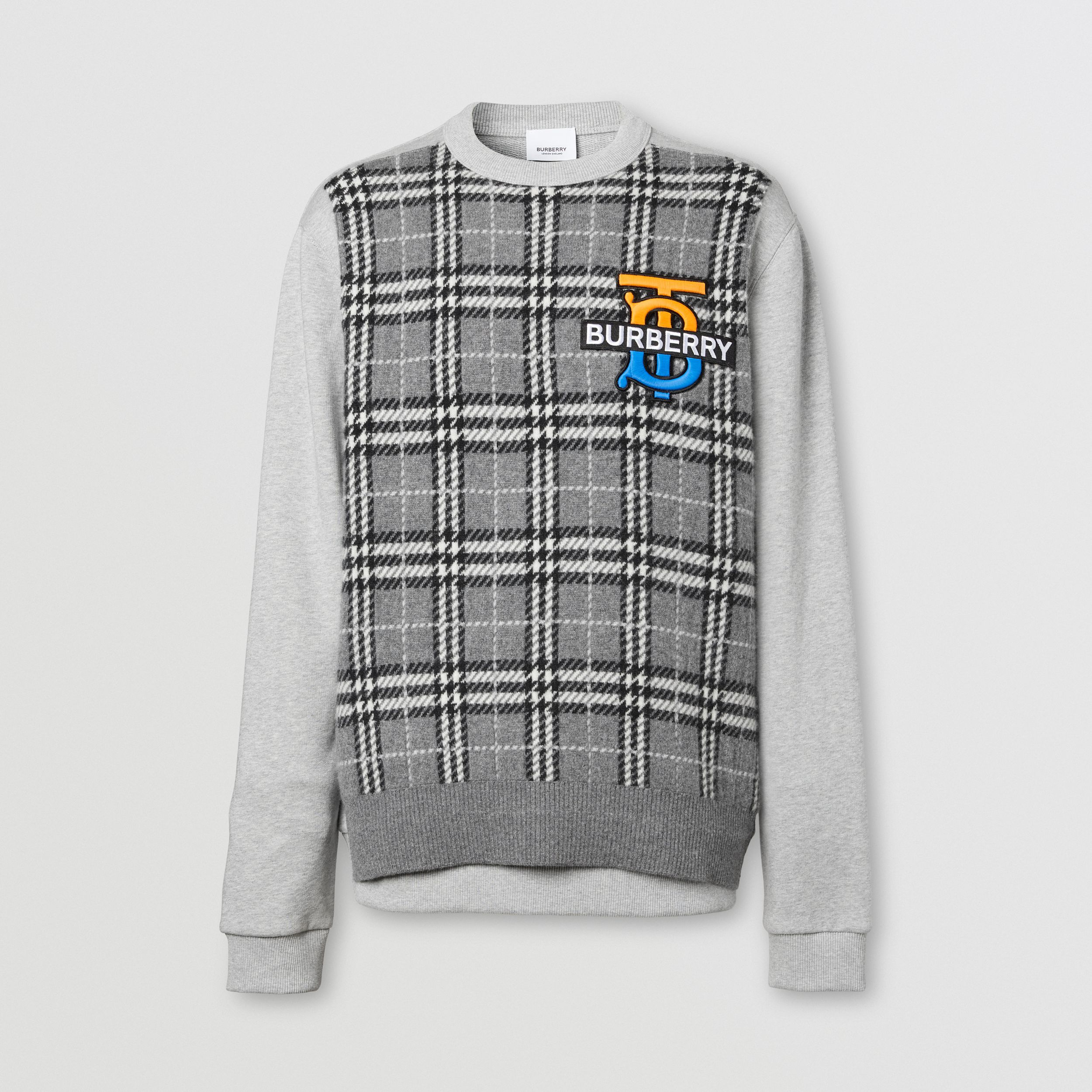 Monogram Motif Check Cashmere Panel Sweatshirt in Pale Grey Melange - Men | Burberry - 4