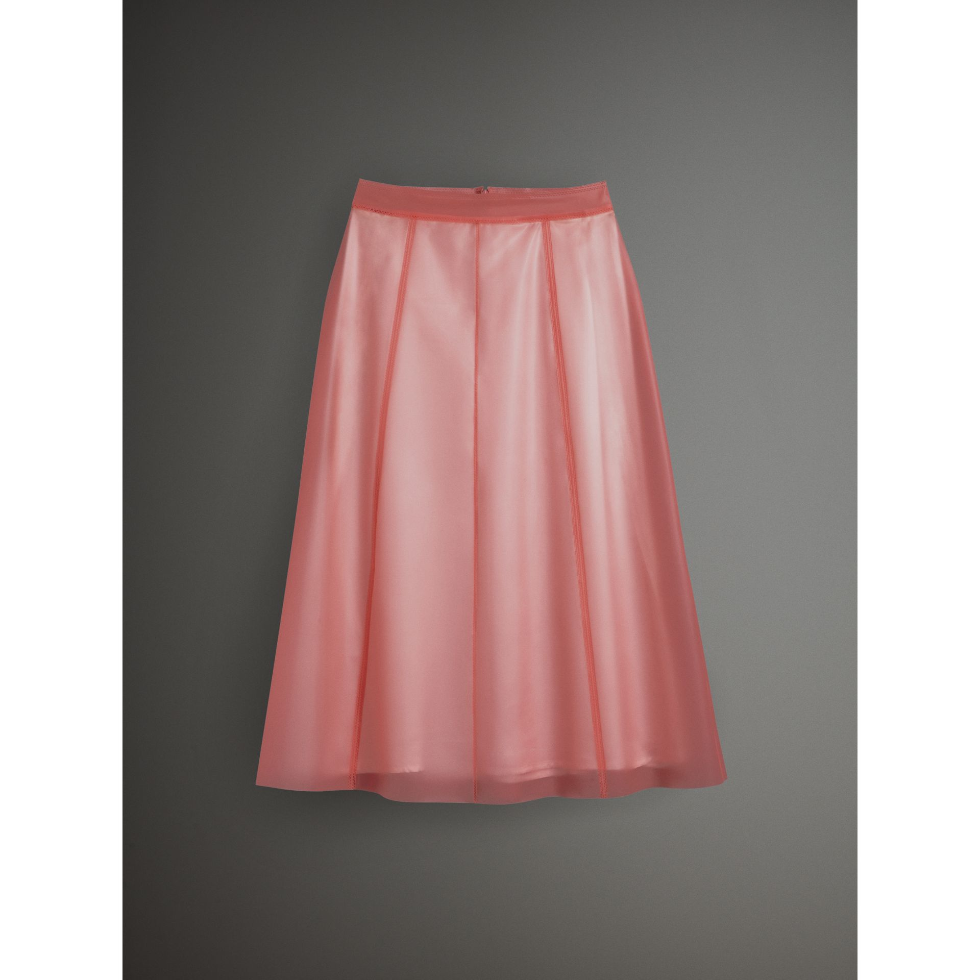 Silk-lined Plastic A-line Skirt in Rose Pink - Women | Burberry Singapore - gallery image 3