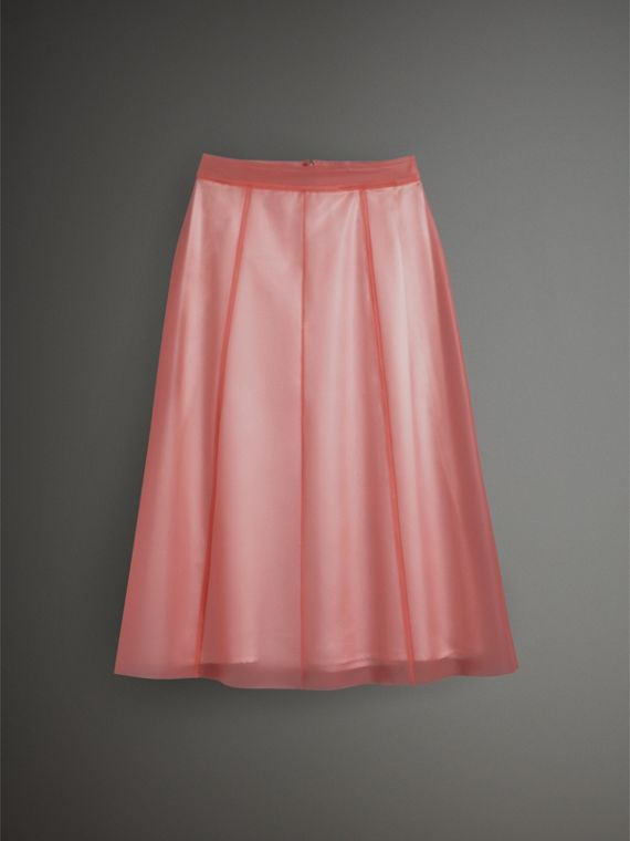 Silk-lined Plastic A-line Skirt in Rose Pink - Women | Burberry Singapore - cell image 3