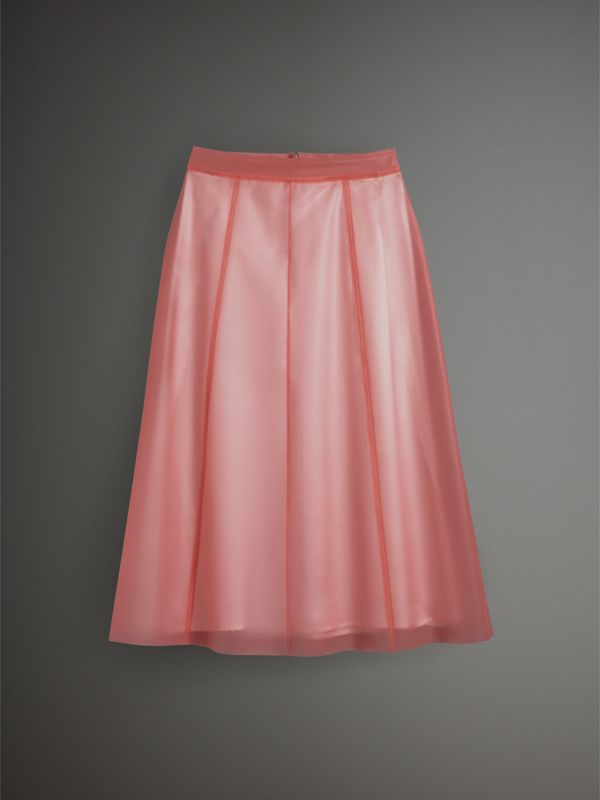 Silk-lined Plastic A-line Skirt in Rose Pink - Women | Burberry United Kingdom - cell image 3