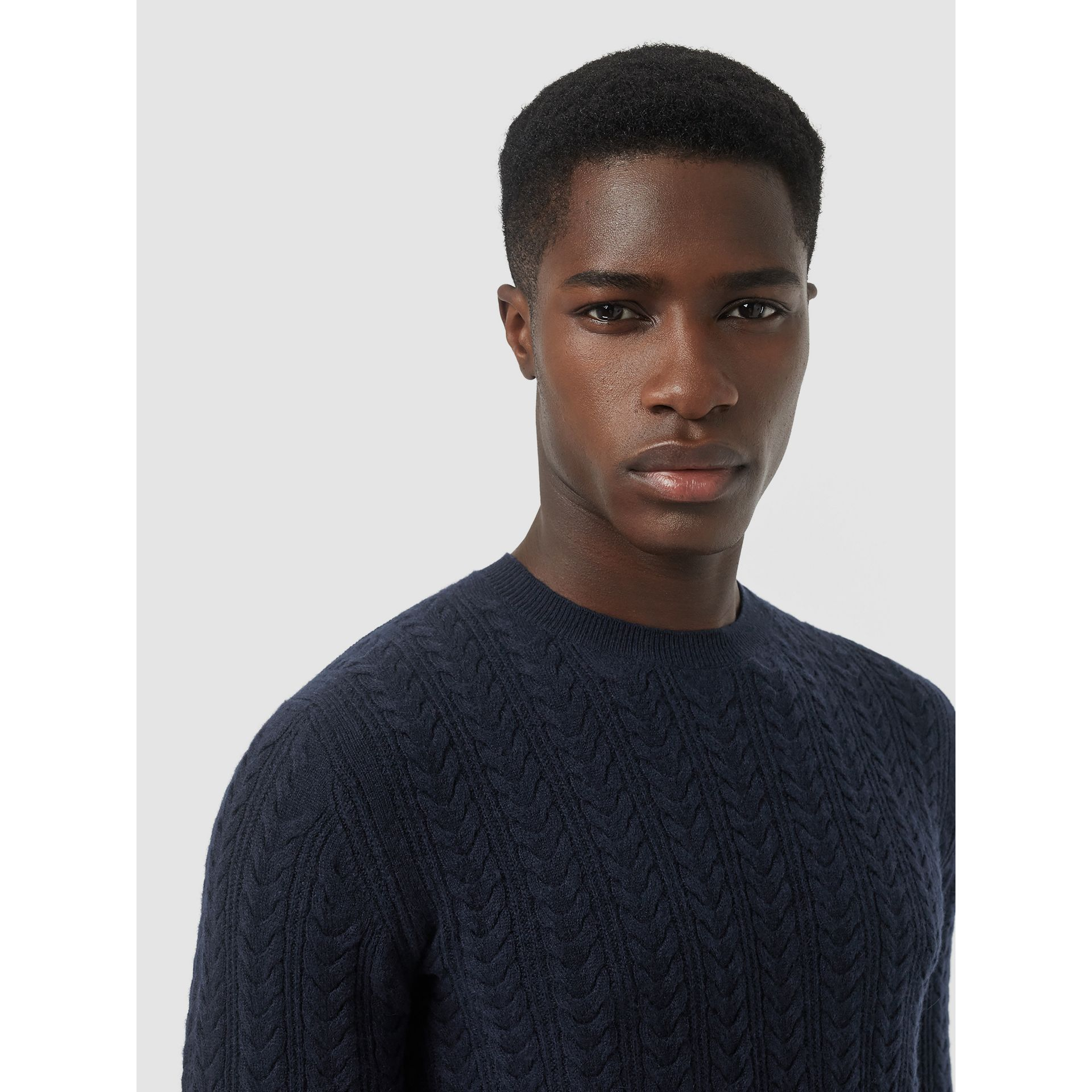 Cable Knit Cashmere Sweater in Navy - Men | Burberry United Kingdom - gallery image 1
