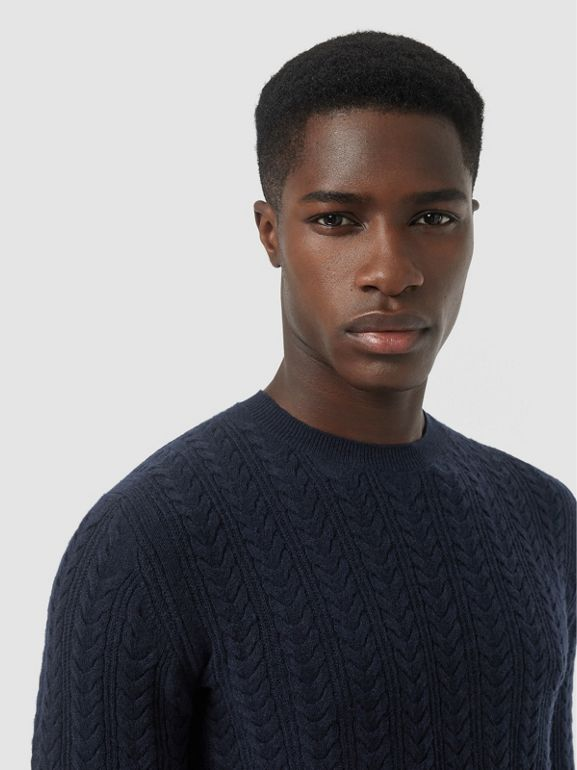 Cable Knit Cashmere Sweater in Navy - Men | Burberry - cell image 1