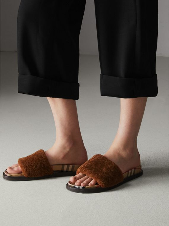 Shearling and Vintage Check Slides in Tan - Women | Burberry - cell image 2