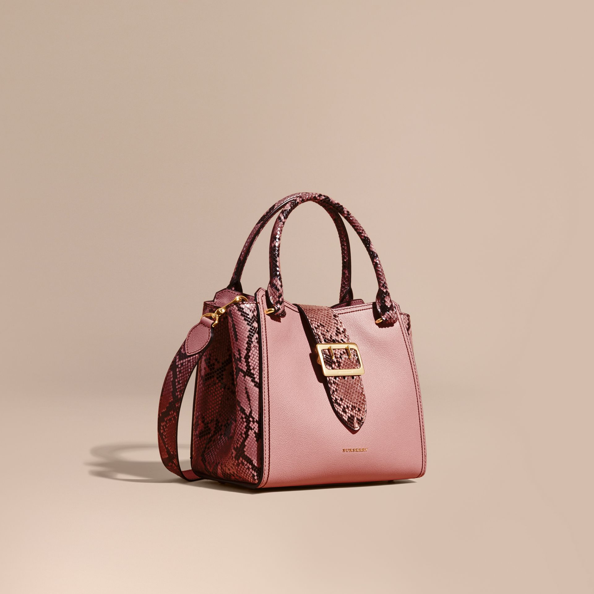 Dusty pink The Medium Buckle Tote in Grainy Leather and Python - gallery image 1