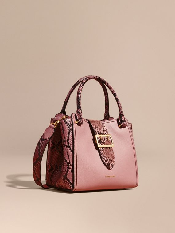 The Medium Buckle Tote in Grainy Leather and Python