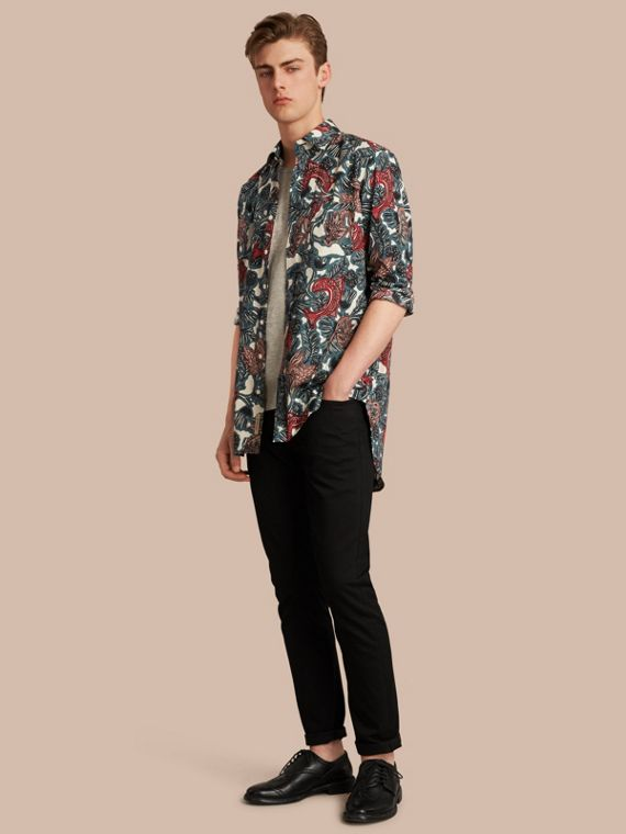 Beasts Print Cotton Poplin Longline Shirt in Mineral Blue