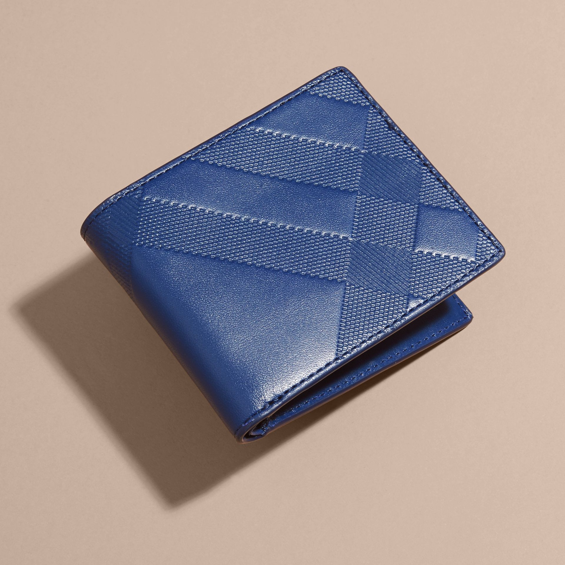 Lapis blue Embossed Check Leather Folding Wallet - gallery image 3