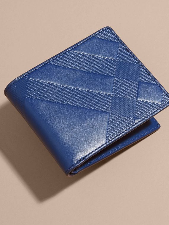 Lapis blue Embossed Check Leather Folding Wallet - cell image 2