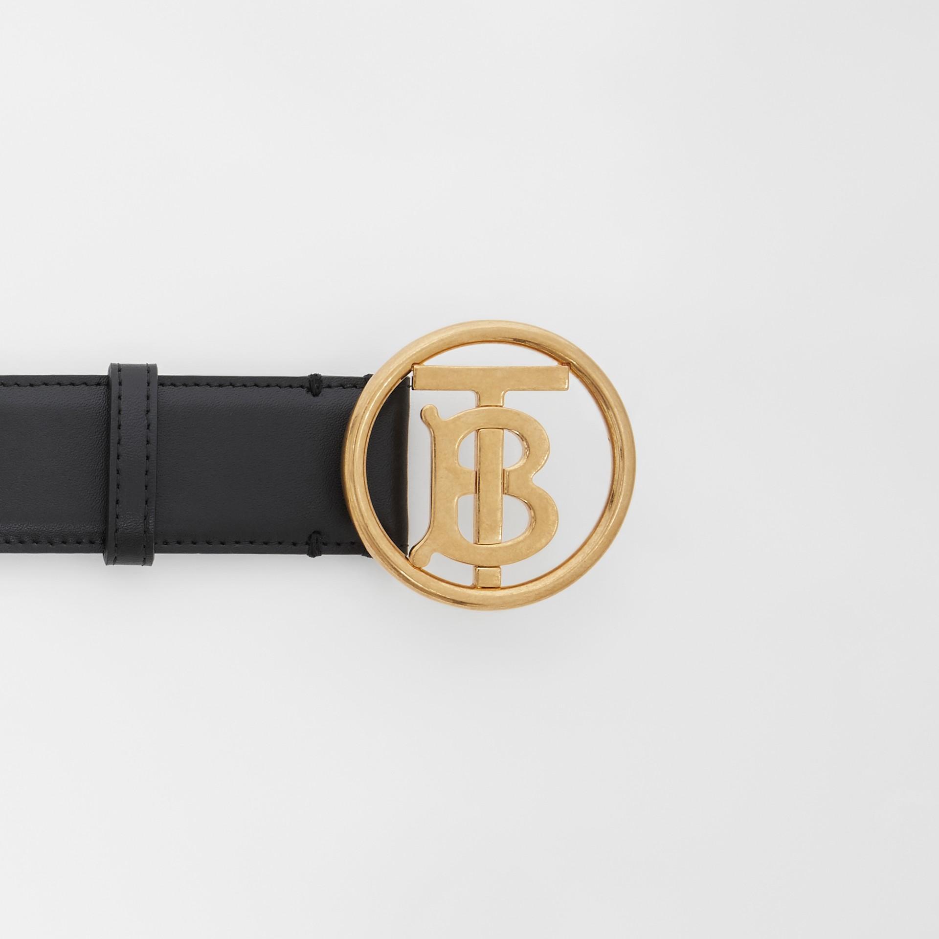 Monogram Motif Leather Belt in Black - Women | Burberry - gallery image 6
