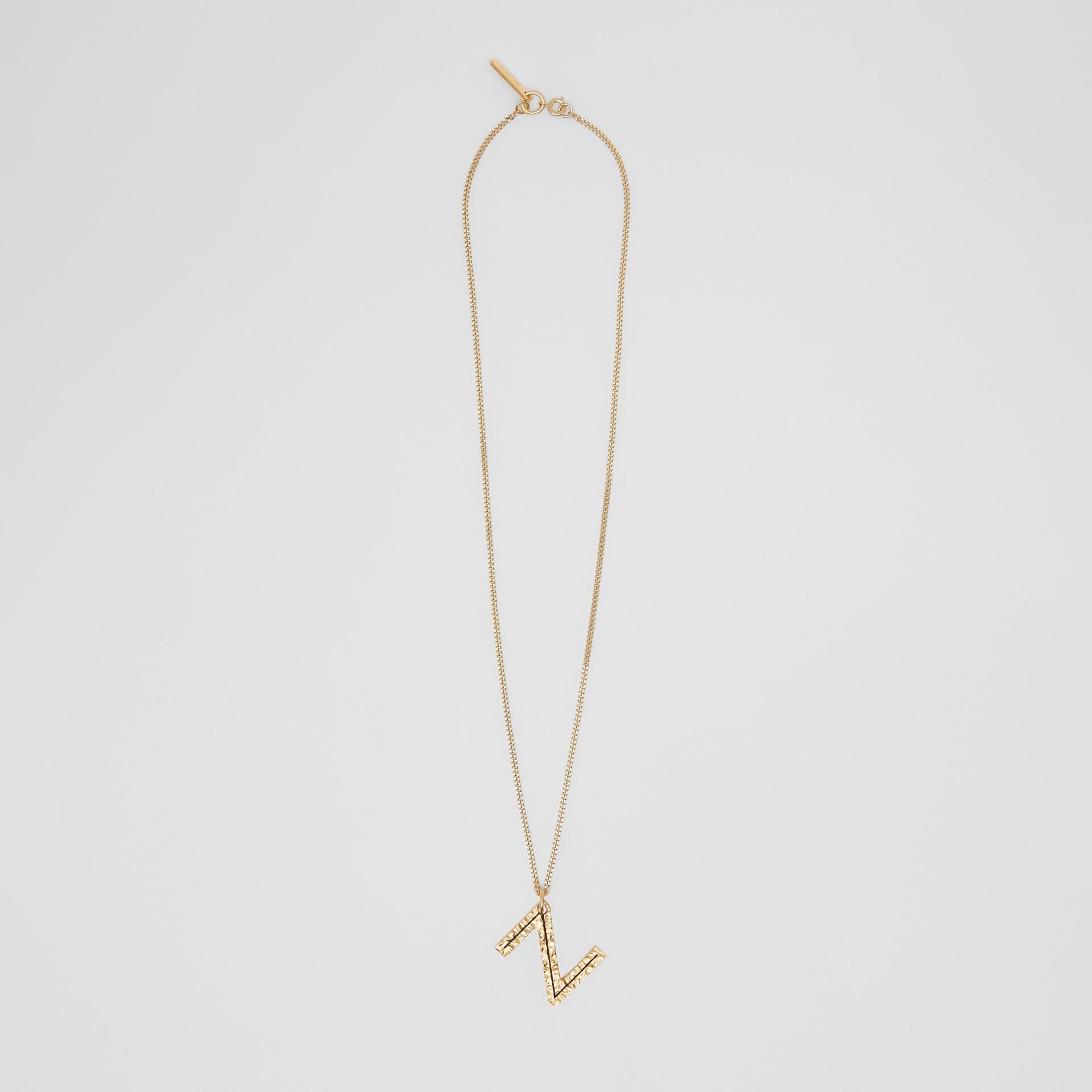 Collana con ciondolo a forma di Z in metallo placcato oro (Chiaro) - Donna   Burberry - immagine della galleria 0