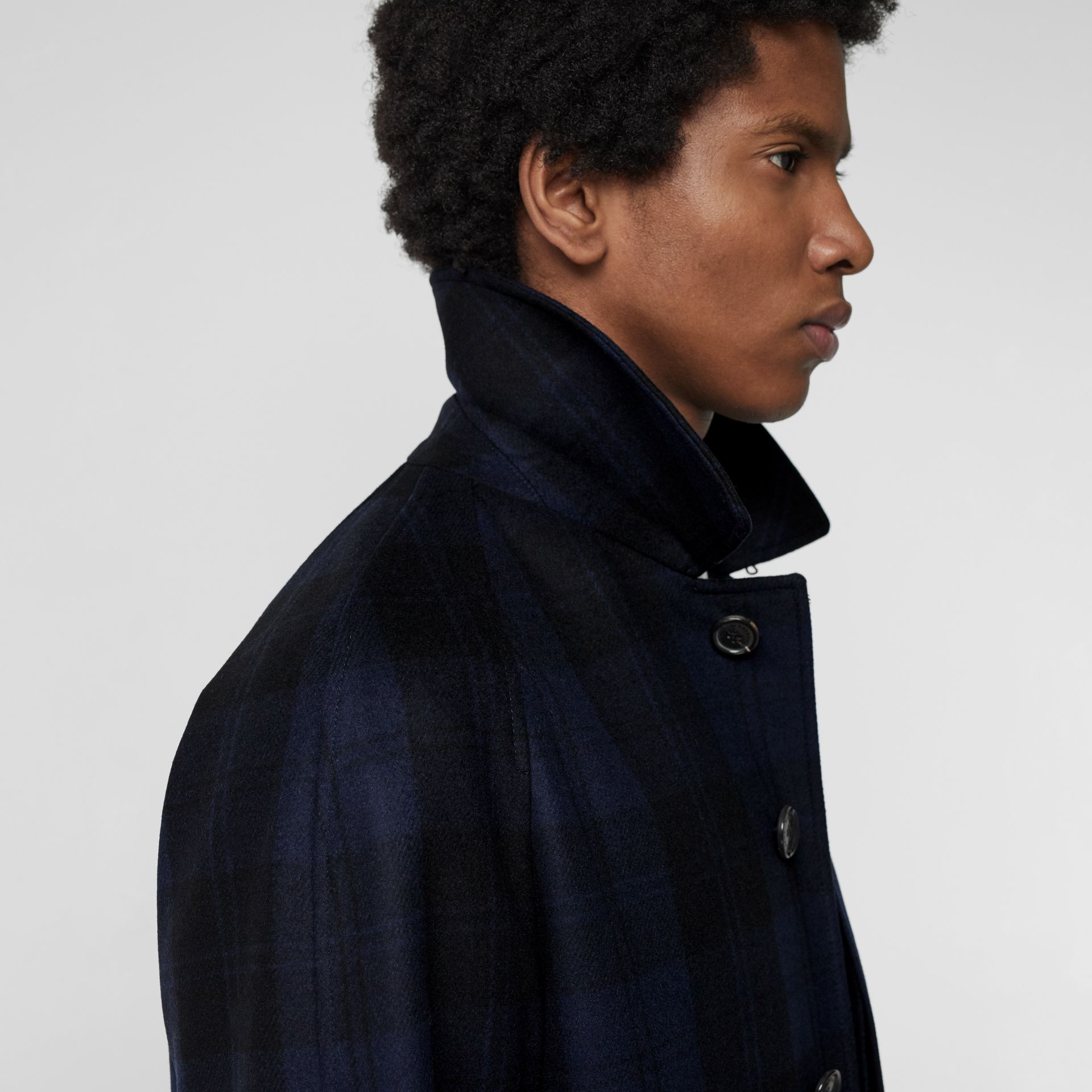 Check Cashmere Car Coat in Navy - Men | Burberry - gallery image 1